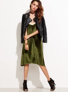 Color Block Velvet Slip Dress
