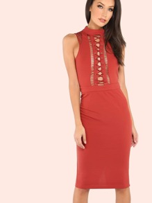 Lace Up Net Contrast Dress MARSALA