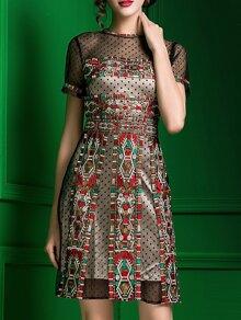 Vestido de malla a lunares con bordado - multicolor