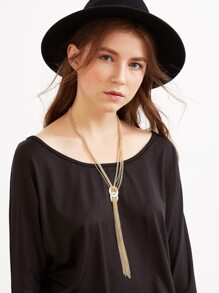 Gold Long Chain Tassel Layered Necklace