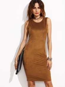 Camel Suede Open Back Tank Dress