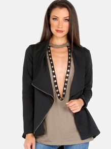 Lapel Zip Jacket BLACK