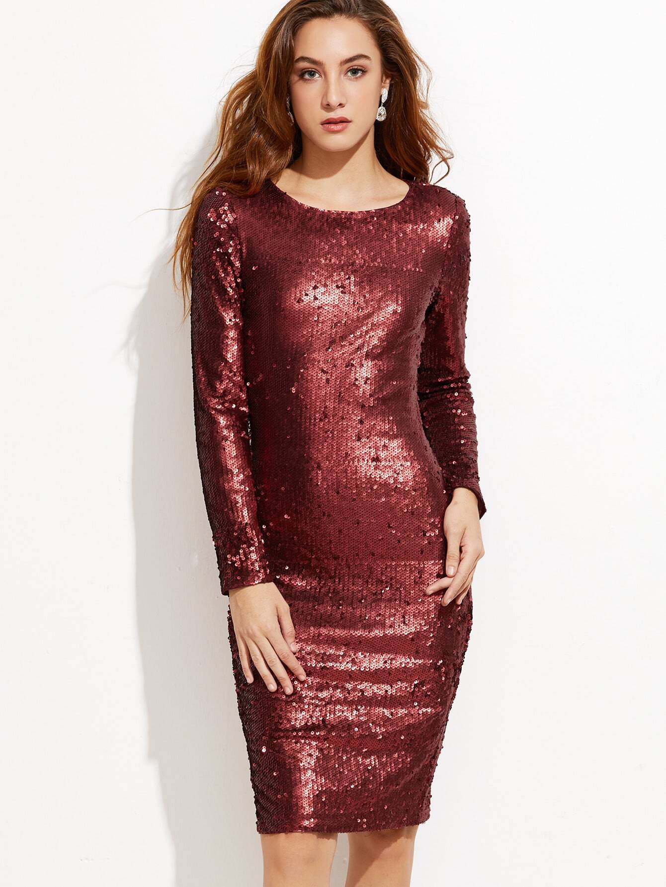 Burgundy embroidered sequin pencil dress shein sheinside