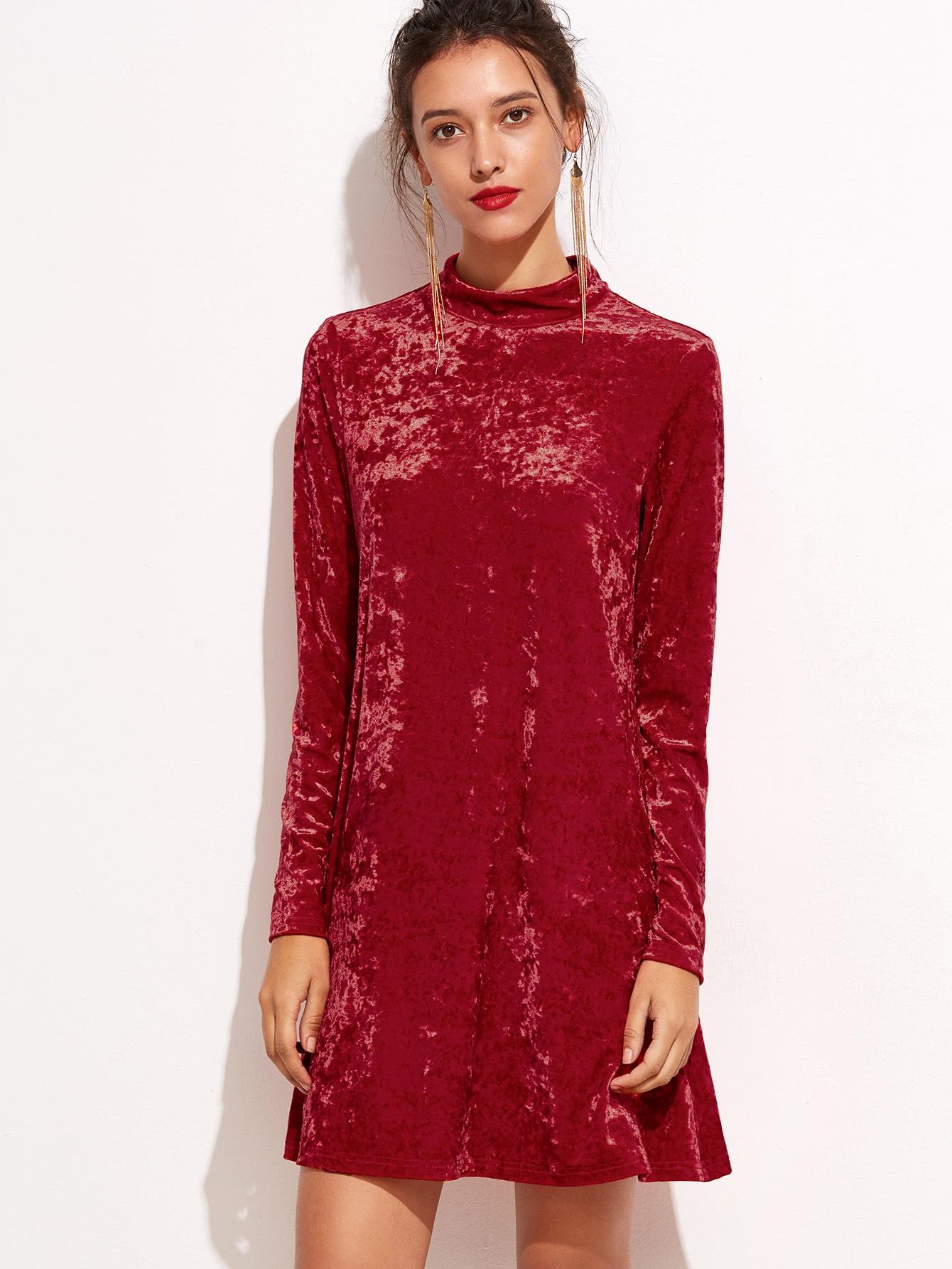 Red Mock Neck Keyhole Velvet DressRed Mock Neck Keyhole Velvet Dress<br><br>color: Red<br>size: L,M,XS