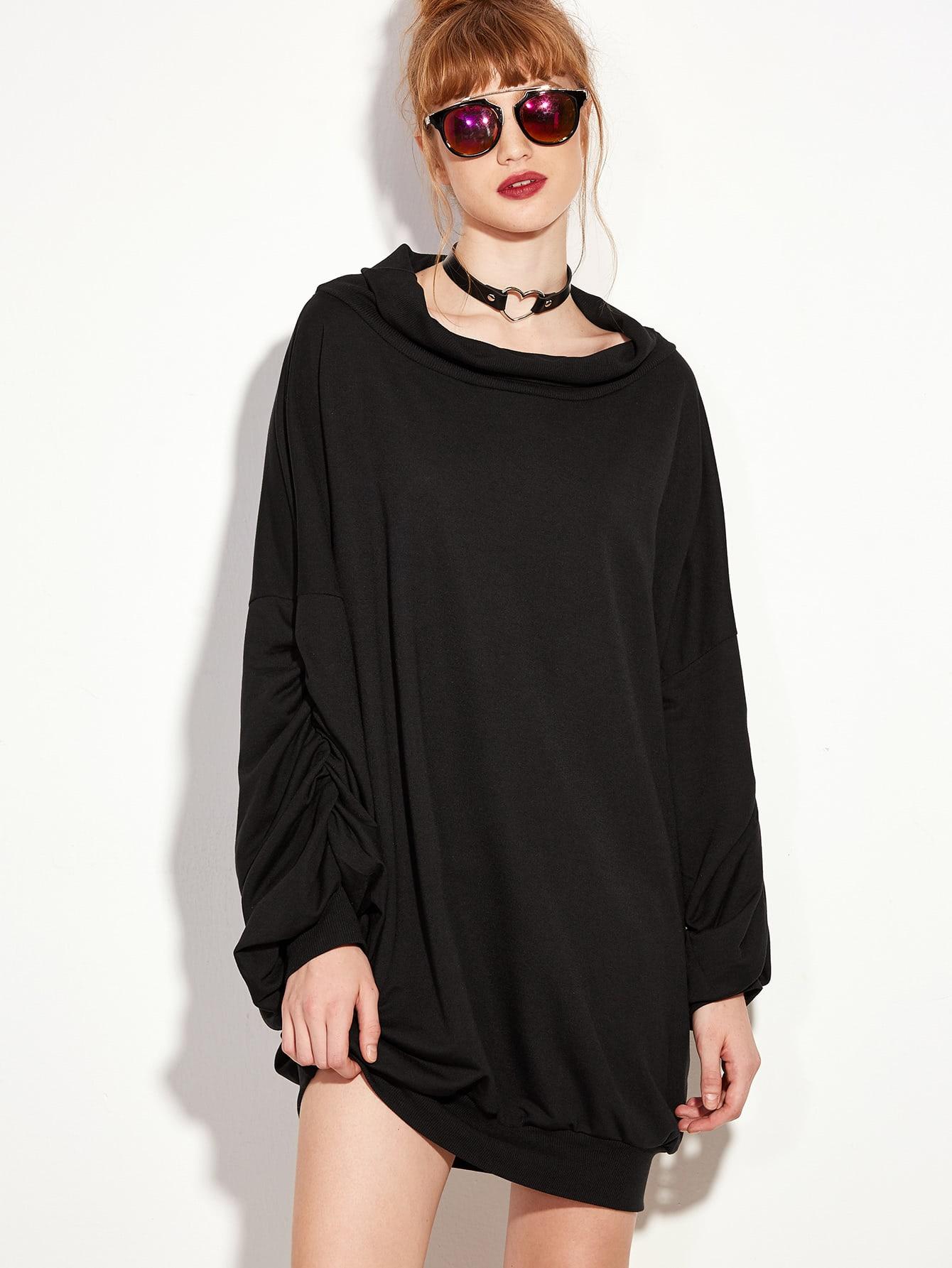 Black Lantern Sleeve Sweatshirt DressBlack Lantern Sleeve Sweatshirt Dress<br><br>color: Black<br>size: L,M,S,XL