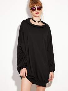 Black Lantern Sleeve Sweatshirt Dress