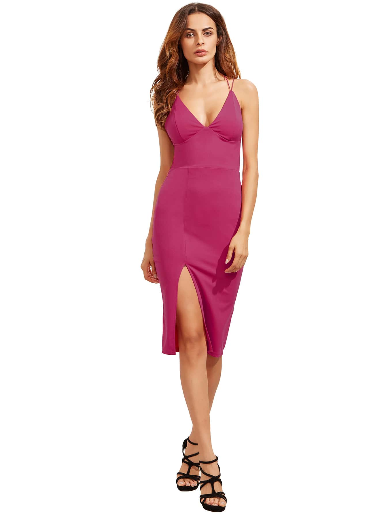 Hot Pink Split Side V Neck Star Back Dress dress160813759