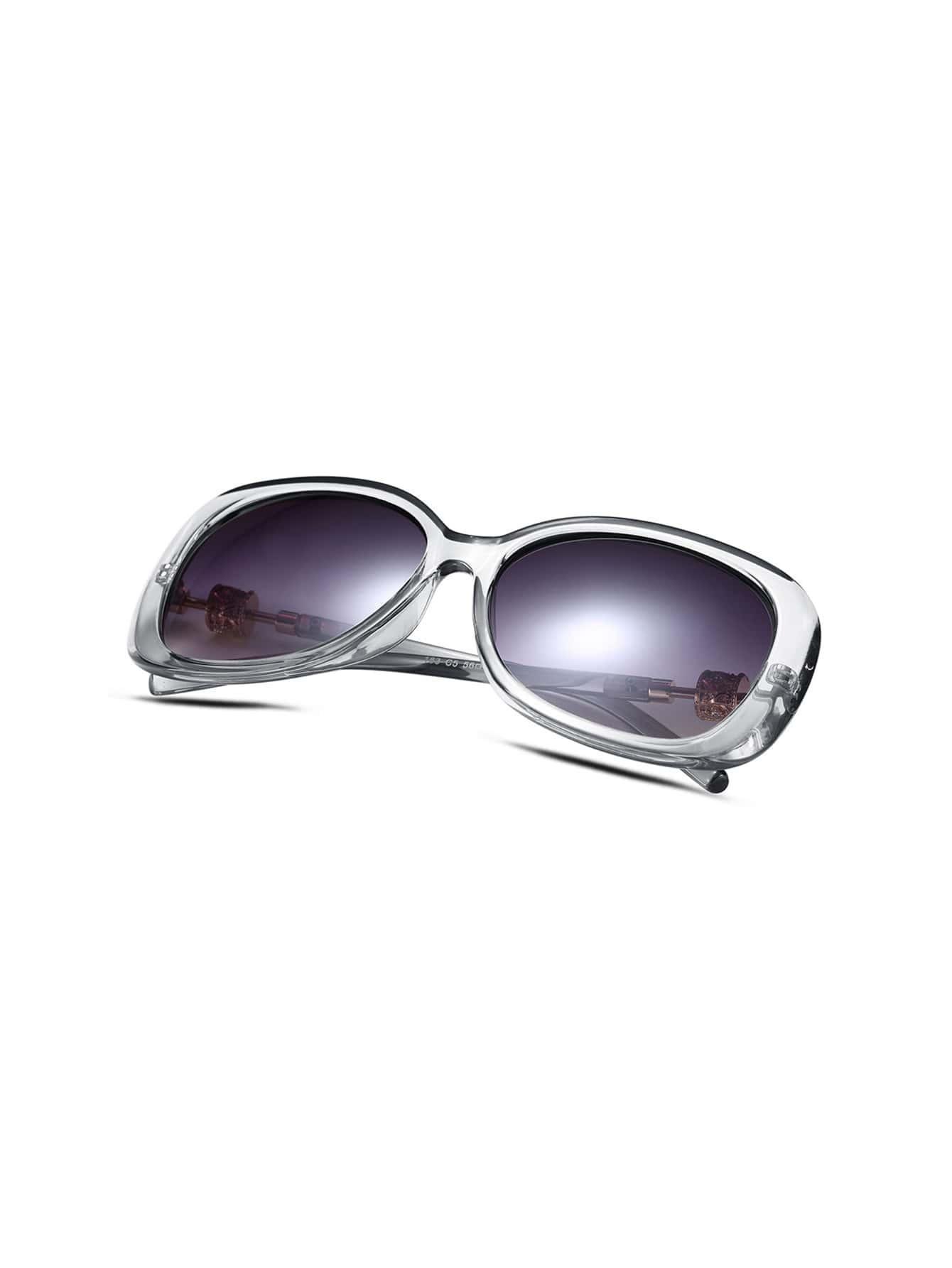 Gold Frame Clear Sunglasses : White Clear Frame Gold Trim Sunglasses -SheIn(Sheinside)