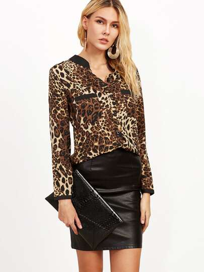 Leopard Print Contrast Neck Shirt With Pockets