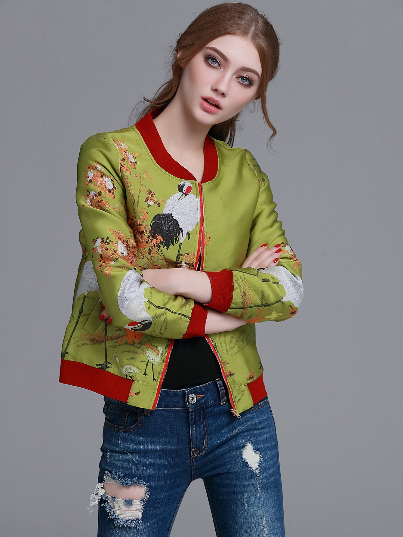 Contrast Trim Crane Embroidery Jacket