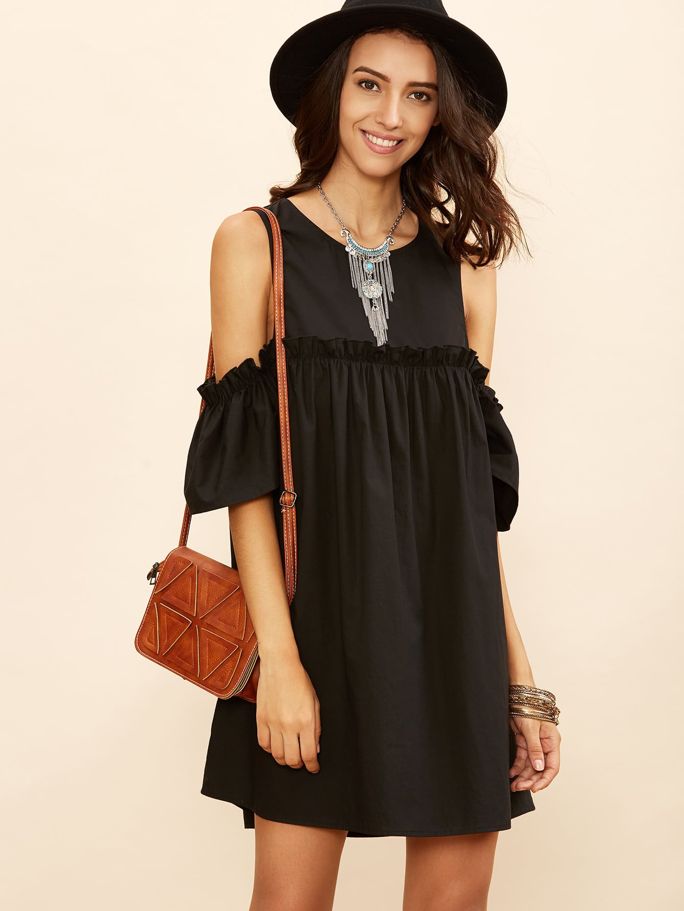 Black Cold Shoulder Frill Babydoll Dress dress160901701