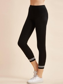 Black Striped Trim Elastic Waist Leggings