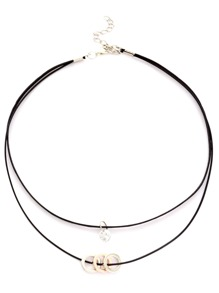 Black Double Layer Circle Rhinestone Choker Necklace