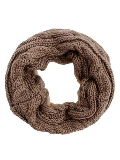 Khaki Cable Knit Scarf