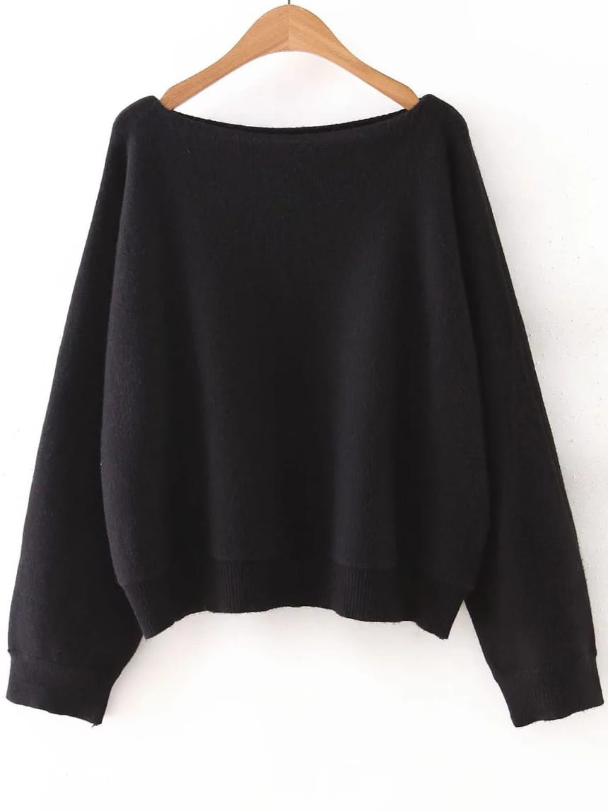 Black Boat Neck Ribbed Trim Sweater sweater160922201