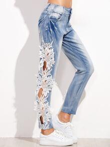 Blue Bleach Wash Lace Crochet Trim Hollow Out Jeans