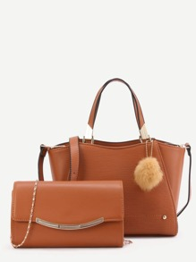 Brown PU Pom Pom Trim Convertible Handbag With Chain Bag