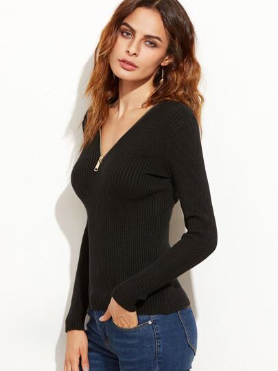 Black V Neck Zipper Ribbed Sweater