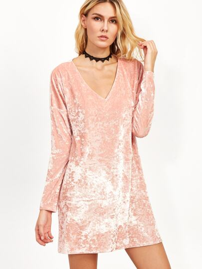 Crushed Velvet Drop Shoulder Tee Dress