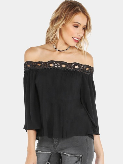 Off Shoulder Lace Applique Top BLACK