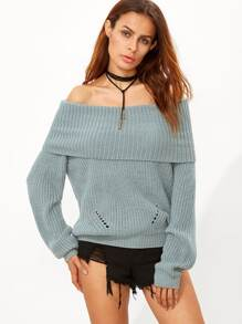Green Foldover Off The Shoulder Sweater