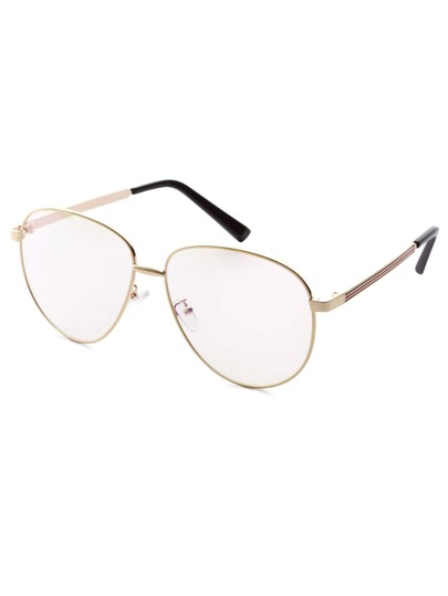 Large Gold Frame Glasses : Gold Frame Large Lens Vintage Glasses -SheIn(Sheinside)