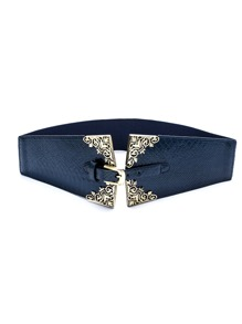 Navy Faux Leather Buckle Geometric Wide Belt