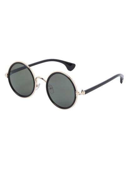 Gold Frame Round Lens Retro Style Sunglasses