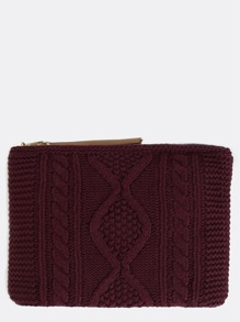 Knit Oversized Clutch BURGUNDY