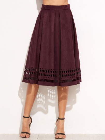 Maroon Suede Laser Cutout Circle Skirt