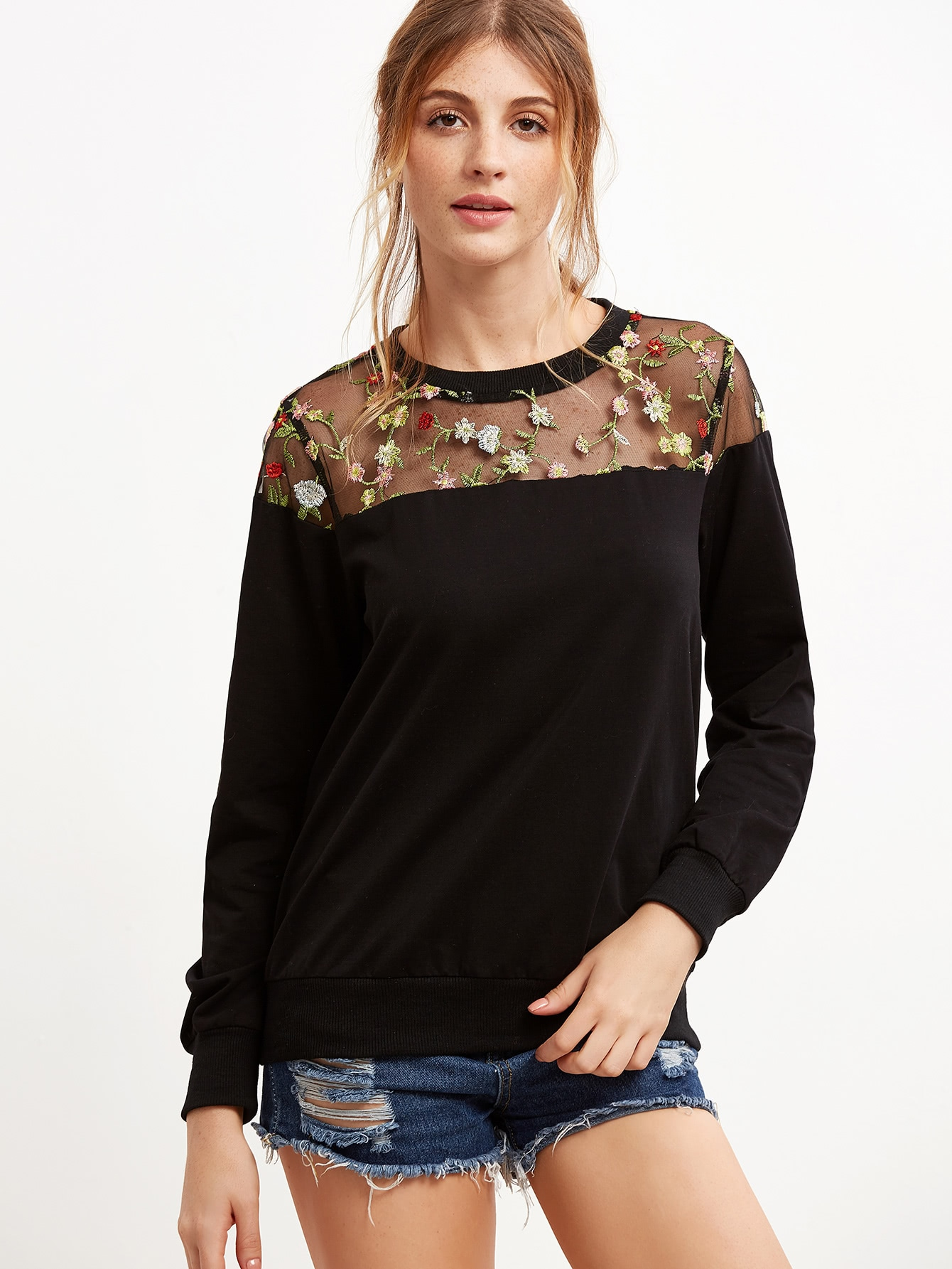 Black Embroidered Mesh Yoke Sweatshirt