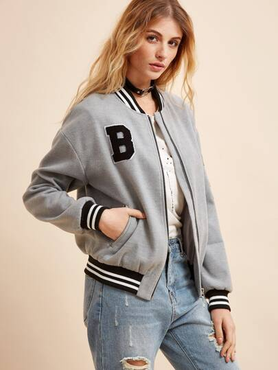 Striped Trim Flocked Patch Zipper Jacket