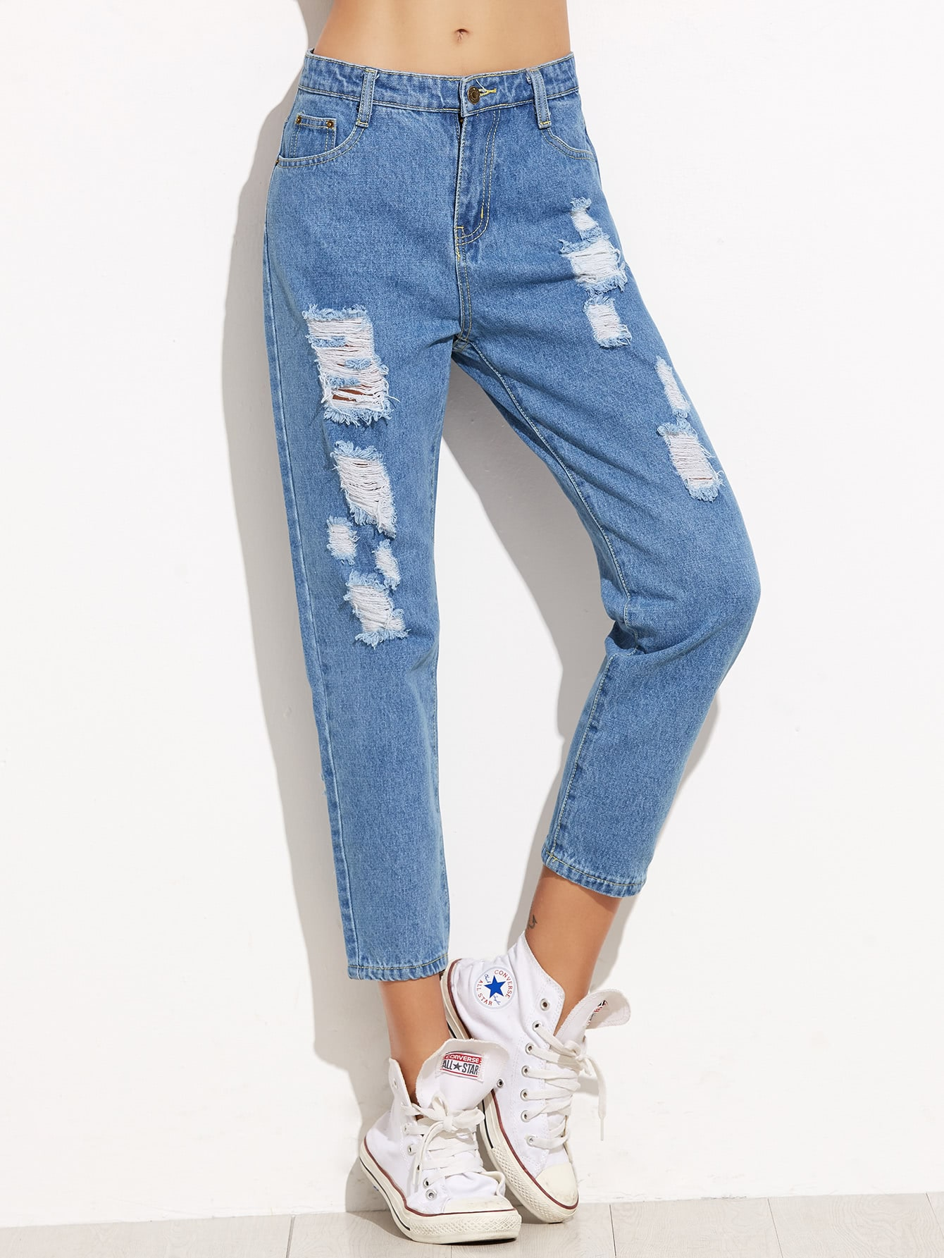 Blue Pockets Ripped Slim Denim PantBlue Pockets Ripped Slim Denim Pant<br><br>color: Blue<br>size: L,M,S,XL