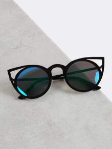 Reflective Lens Cat Eye Sunglasses BLACK BLUE