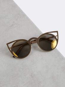 Metallic Round Cat Eye Sunglasses GOLD