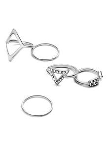 Set de anillo 5pcs hueco con apliques cristales