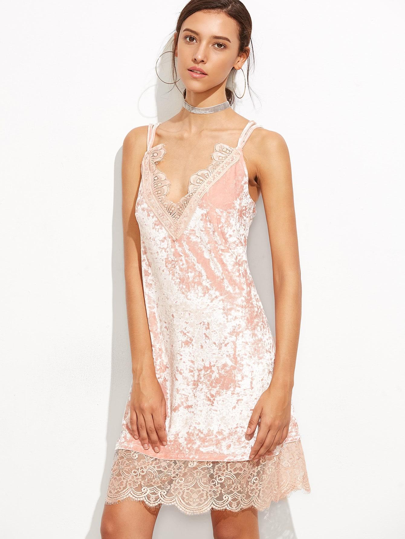Pink Eyelash Lace Trim Velvet Strappy Cami DressPink Eyelash Lace Trim Velvet Strappy Cami Dress<br><br>color: Pink<br>size: L,M,S