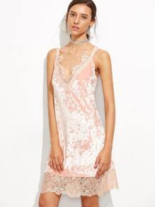 Pink Eyelash Lace Trim Velvet Strappy Cami Dress
