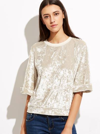Rolled Cuff Crushed Velvet Top