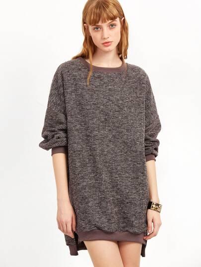 Khaki Split Side High Low Sweatshirt Dress