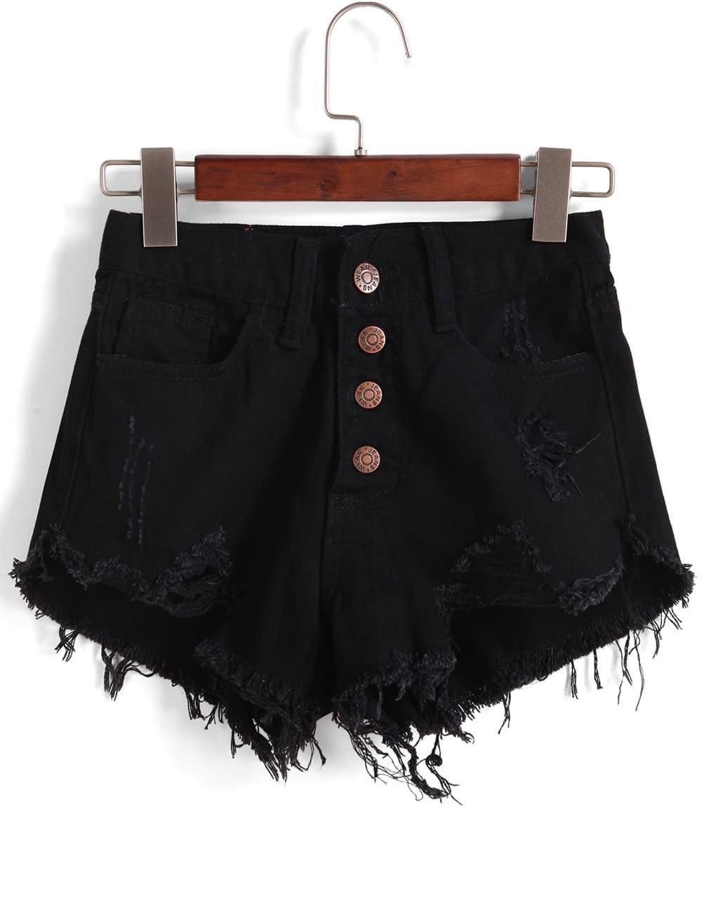 Чёрные рваные однобортные шорты с бахромой от SheIn