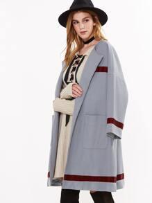 Shawl Collar Drop Shoulder Coat With Pockets
