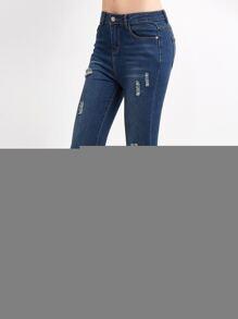 Blue Ripped Asymmetric Raw Hem Skinny Jeans