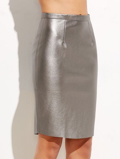 Metallic Silver Zipper Back Fitted Skirt