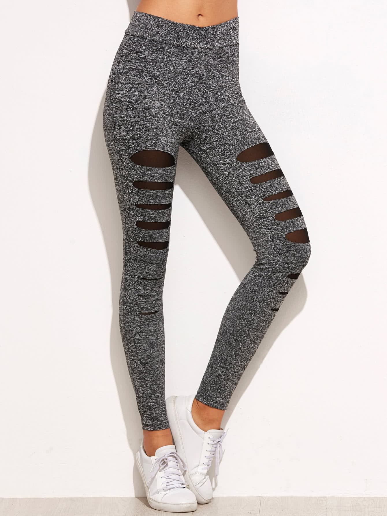 Фото #1: Marled Knit Mesh Insert Ripped Leggings