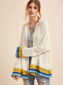 Veste contrasté avec frange et crochet - blanc