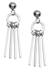 Silver Circle Straight Bar Drop Earrings
