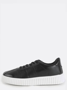 Textured Sole Platform Sneakers BLACK