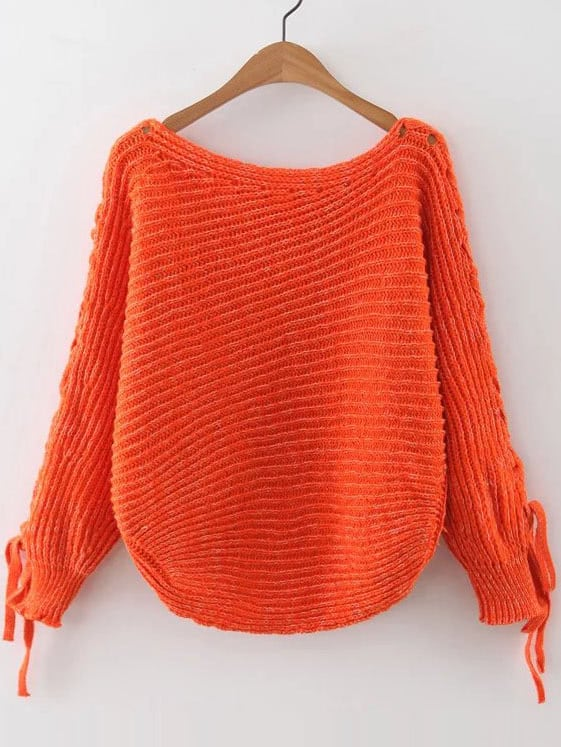 Orange Ribbed Lace Up Sleeve Loose Sweater sweater160909219