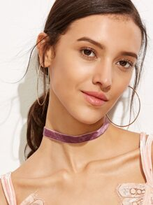 Purple Velvet Slim Choker Necklace